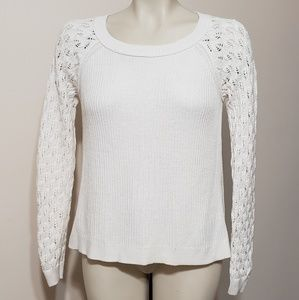 LOFT cream knitted sweater w/lacy sleeves